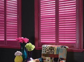 Coloured shutters from Shades Blinds