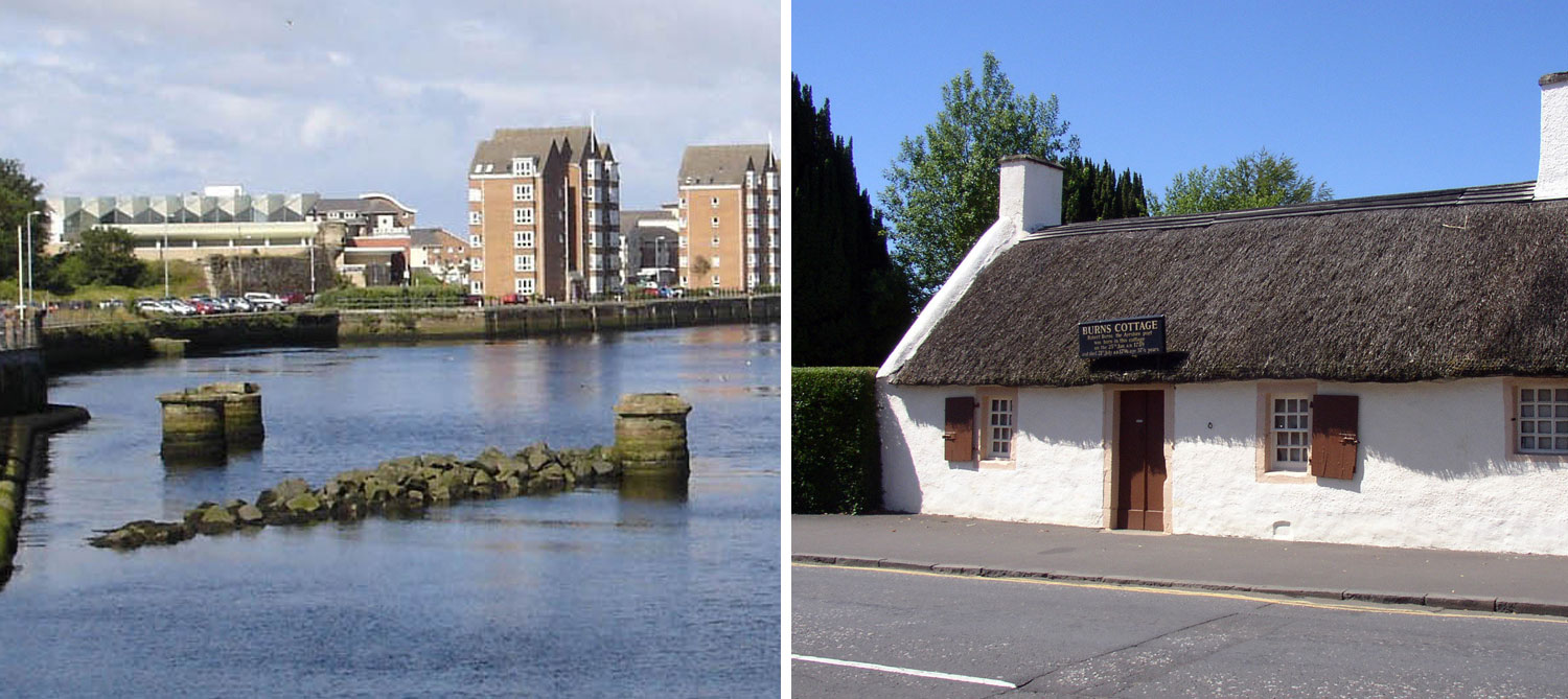 Ayr Harbour and Rabbie Burns Cottage